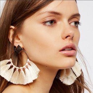 Free People Full Bloom Fan Earrings Silver NWT
